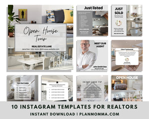Social Media Templates for Real Estate - Instagram Real Estate Canva Templates, Modern Real Estate Design, Social Media Posts for Realtors