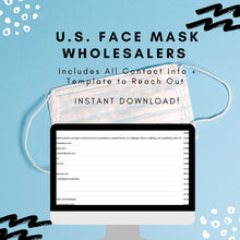 Load image into Gallery viewer, Wholesale Face Masks Bulk Vendors List | Download 25+ U.S. Based Wholesale Face Mask Vendors List Resellers | Instant Download