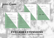 Load image into Gallery viewer, Eyelash Extension Minimalist Forms Bundle - Consultation, Consent Form, Client Record Card, Aftercare, FAQs, Appointment and Income Sheet