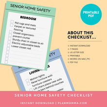 Load image into Gallery viewer, Senior caregiver checklist - Senior care, Elder assistance, Routine sheet, planner, Aging in place, elder care, assisted care, home support