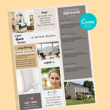 Load image into Gallery viewer, Real Estate Agent Brochure - Instant Download | Canva template, Realtor marketing, marketing brochure, real estate agent, realtor template