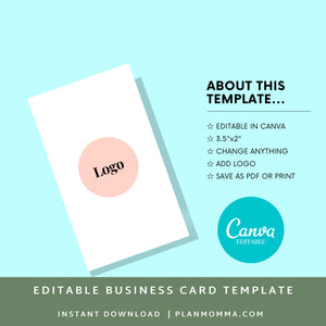 Vertical Business Card Pink | Instant Download Printable Canva Template, Printable Business Card, Custom Business Card, DIY Business Card