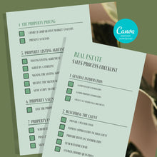 Load image into Gallery viewer, 2 Sales Process Checklist Template - Printable Checklist, Sales Process, Fillable Canva Template, Editable, Real Estate Marketing Templates