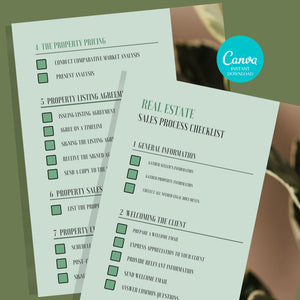 2 Sales Process Checklist Template - Printable Checklist, Sales Process, Fillable Canva Template, Editable, Real Estate Marketing Templates