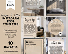 Load image into Gallery viewer, Instagram Buyer & Seller Tips - Real Estate, Instagram Posts, Social Media Template, Template Bundle for Instagram, Marketing, Canva
