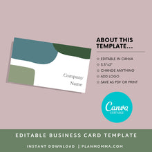 Load image into Gallery viewer, Business Card- Instant Download | Modern business card, simple business card, printable business card, business card template, canva