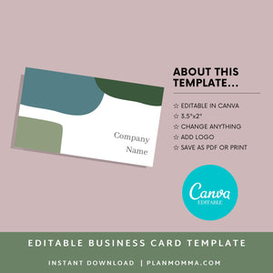 Business Card- Instant Download | Modern business card, simple business card, printable business card, business card template, canva