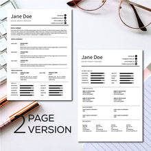 Load image into Gallery viewer, Google Doc resume template with Reference Letter and Cover Letter - Word Doc Template, Apple Pages template - Instant Download Resume