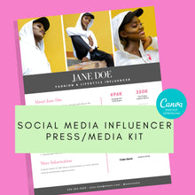 Load image into Gallery viewer, Social Media Influencer Media Kit - 1 Page Media Kit, Canva Media Kit, Press Kit, Instant Download