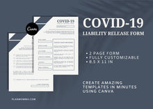 Load image into Gallery viewer, Liability Release Form for your Business - Instant Download | Canva Template, Covid-19 Liability Release Form, Waiver Form