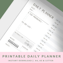 Load image into Gallery viewer, Daily Planner Printable A4 A5 US Letter - Planner Insert – Printable Planner, Undated Planner - Daily Planner 2020 // Productivity Tracker