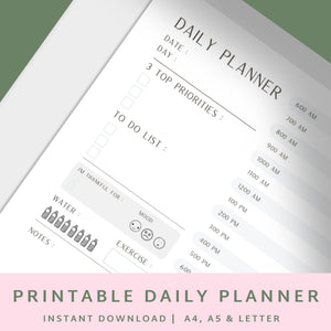 Daily Planner Printable A4 A5 US Letter - Planner Insert – Printable Planner, Undated Planner - Daily Planner 2020 // Productivity Tracker