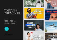 Load image into Gallery viewer, 10 Youtube Thumbnail Template - Custom Thumbnail, Video Thumbnails, Thumbnail Template, Youtube Template, Youtube Graphics, Youtube Channel