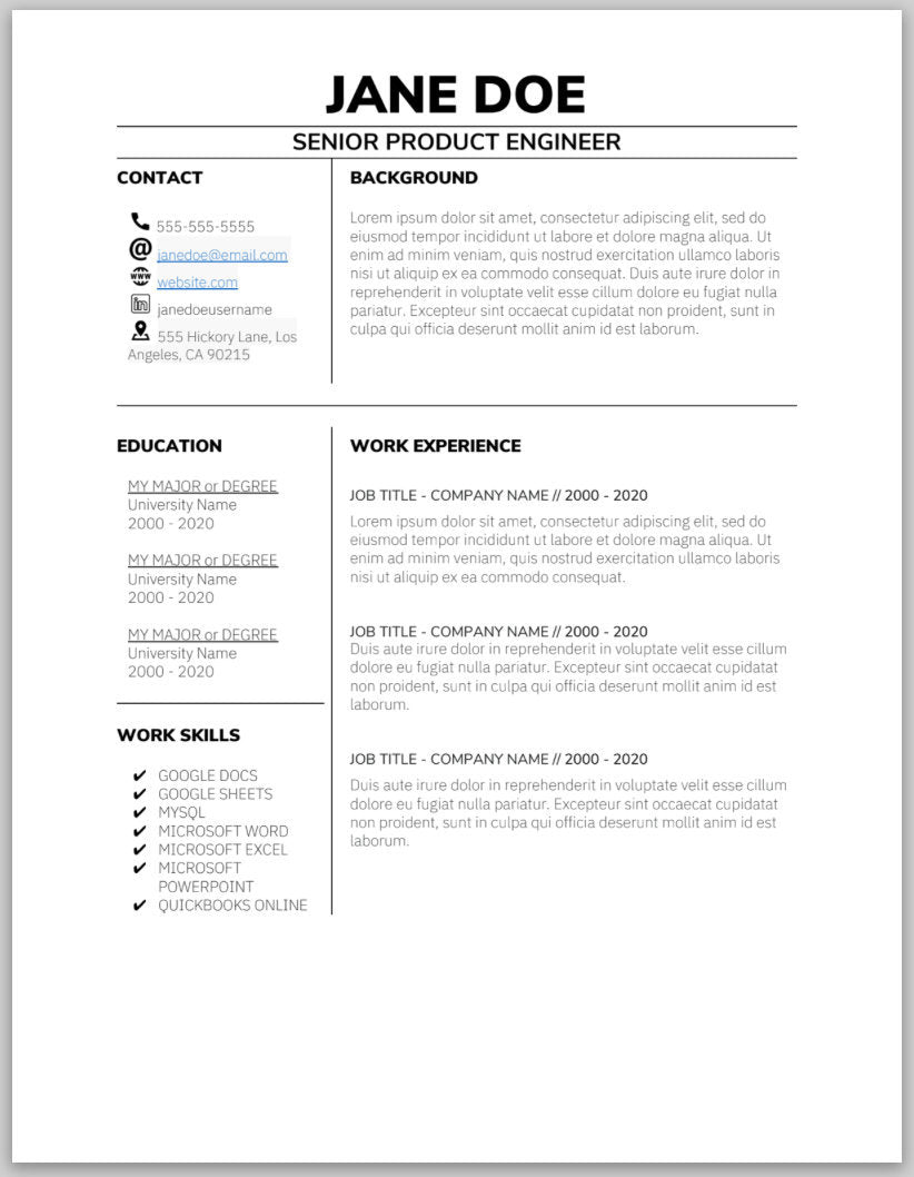 One Page Resume Template - Instant Download, Resume Template, Resume Word, Resume Google Docs, Pages Resume, Modern Resume, Simple Resume