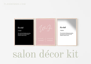 Salon Décor Kit - Aesthetician Decor, Wifi Sign, Esthetician Decor | Spa Decor | Wall Quote | Salon Quote | Beauty Quote | Funny Decor