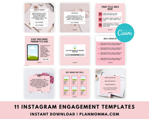 Engagement Editable Instagram Templates - Instagram Canva Templates, Engagement Booster Templates, Instagram Post Templates - Notification