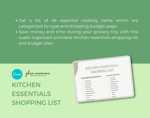Kitchen Essentials Printable Shopping List - INSTANT DOWNLOAD, Kitchen Organizer, Kitchen Utensils Checklist, Budget Planner