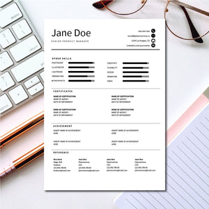 Google Doc resume template with Reference Letter and Cover Letter - Word Doc Template, Apple Pages template - Instant Download Resume