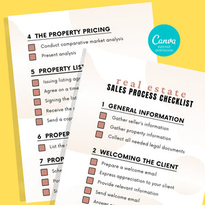 3 Sets of Sales Process Checklist Template - Printable Checklist,Sales Process,Fillable Canva Template, Real Estate Marketing Templates
