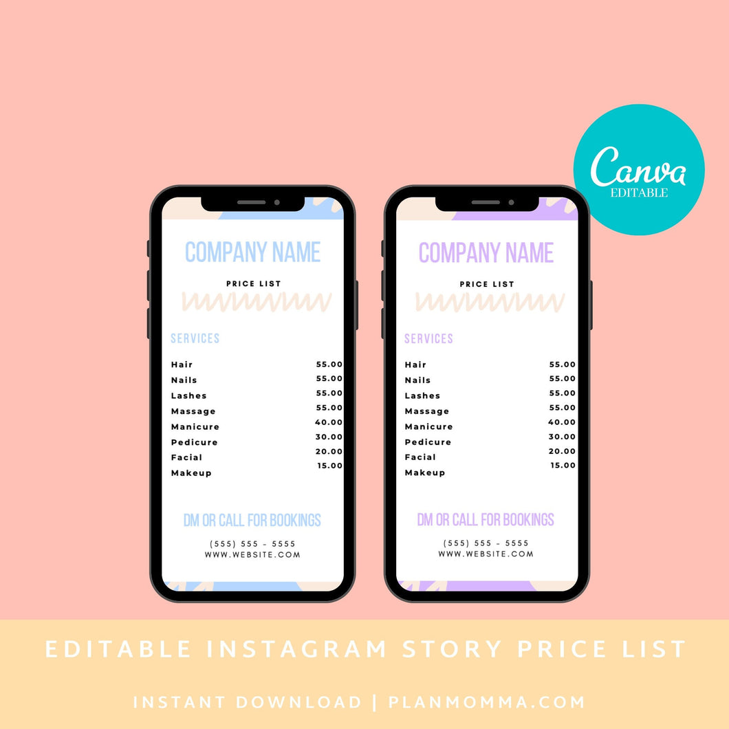 Instagram Story Price List Pastel Canva Template - Editable Instagram Price List, Price List, Instagram Story Template | Instant Download