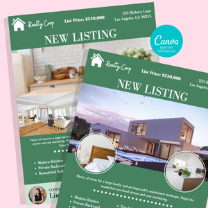 Real Estate Marketing Canva Template - Instant Download | Just listed flyer, Open house flyer, real estate marketing flyer, realtor flyer