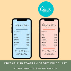 Price list template | Instagram Price List | Instagram Story Template | Price List Template | Beauty Price List | Price Template | IG