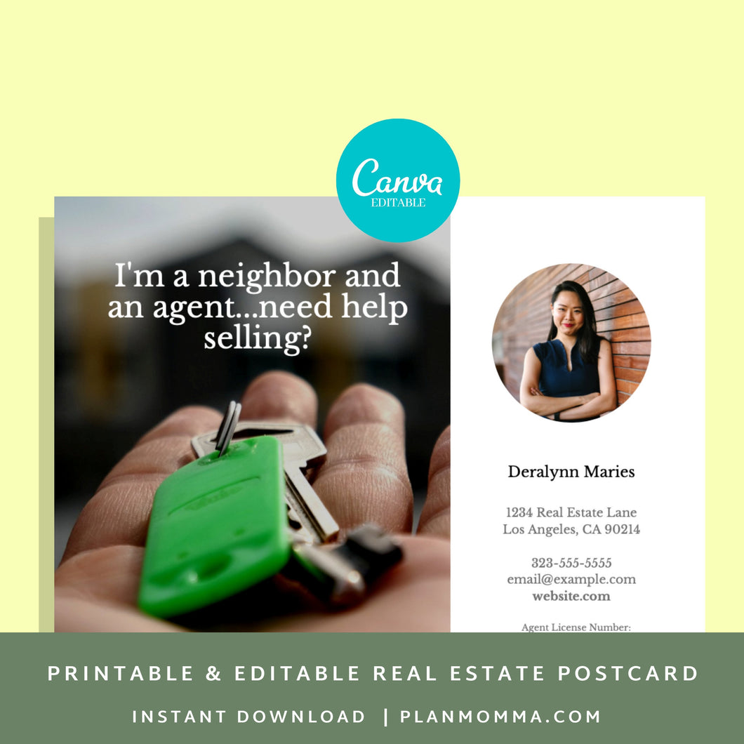 Realtor templates postcard - Instant Download | Postcard template, real estate postcard, realtor postcard, printable postcard canva template