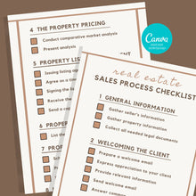 Load image into Gallery viewer, 2 Page Sales Process Checklist - Printable Checklist, Sales Process, Fillable Canva Template, Editable, Real Estate Marketing Templates