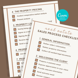 2 Page Sales Process Checklist - Printable Checklist, Sales Process, Fillable Canva Template, Editable, Real Estate Marketing Templates