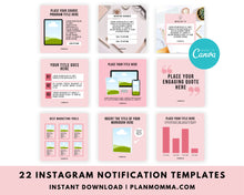 Load image into Gallery viewer, 22 Instagram Engagement Booster Post Canva Templates - Notification Marketing Graphics, Social Media Templates, Engagement Templates