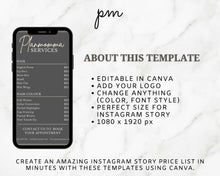 Load image into Gallery viewer, 4 Marble Instagram Price List Template Bundle - Instagram Marketing, Salon Price List Bundle, Makeup Price List, Story Highlights, IG Story