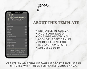 4 Marble Instagram Price List Template Bundle - Instagram Marketing, Salon Price List Bundle, Makeup Price List, Story Highlights, IG Story