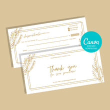 Load image into Gallery viewer, Thank you cards business template printable PDF SVG | Canva Template Thank you for your order | Thank you package inserts | Customer thank