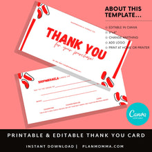 Load image into Gallery viewer, Thank You for Your Purchase Template PDF SVG | Canva Template Thank you for your order | Thank you package inserts | Customer thank