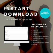 Load image into Gallery viewer, 10 Swimwear Wholesale Vendor List - US Based ONLY | swimwear vendor list, wholesale swimsuits, wholesale bathing suits, wholesale bikini