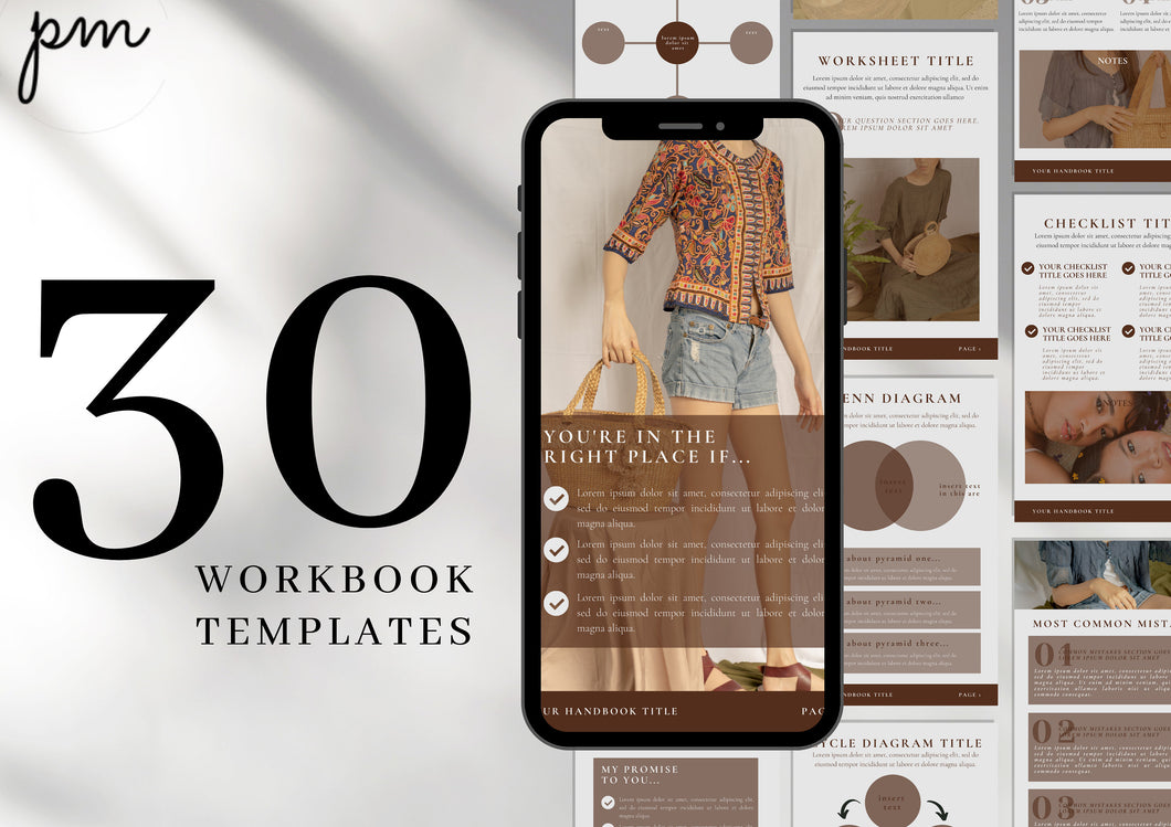 30 Editable Workbook Template - Lead Magnet, Course Creator, Opt In Coaches, Bloggers, Course Creators, Canva Workbook Templates