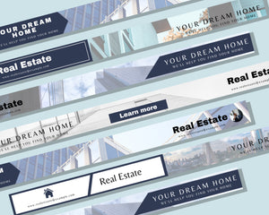 5 MLS Listing Banner Real Estate Template - Real Estate Marketing, Real Estate Website Banner, Banner Template, Listing Banner for Canva