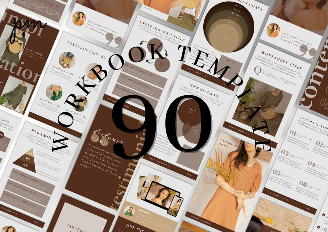 90 Editable Workbook Template - Lead Magnet, Course Creator, Opt In Coaches, Bloggers, Course Creators, Canva Workbook Templates