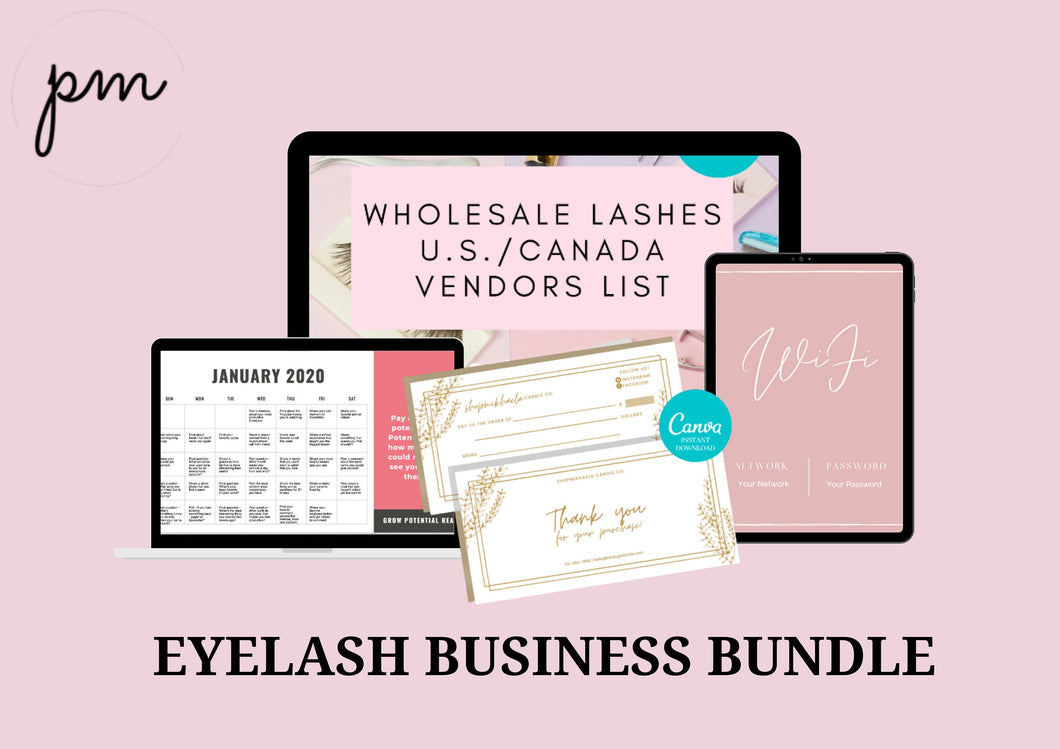 Pink Eyelash Business Bundle - Eyelash Form Bundle, Wholesale Lashes Vendor, Social Media Content Calendar, Wifi Sign, Thank You Card