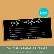 Load image into Gallery viewer, Printable gift card template - Gift Certificate Download Gift card printable template printable, gift certificate card editable