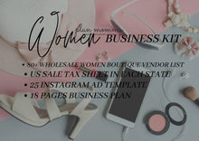 Load image into Gallery viewer, Women's Boutique Business Kit - Instagram Ad Template, US Sales Tax License, Wholesale Women's Vendor List, Business Planner, New Business