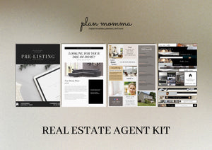 Black Real Estate Agent Kit - Email Template, Pre-listing Guide, Real Estate Guide, Real Estate Agent Facebook Cover, MLS Listing Banner
