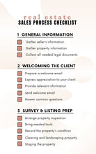 Load image into Gallery viewer, Sales Process Realtor Checklist - Printable Checklist, Sales Process, Fillable Canva Template, Editable, Real Estate Marketing Templates