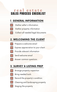 Sales Process Realtor Checklist - Printable Checklist, Sales Process, Fillable Canva Template, Editable, Real Estate Marketing Templates