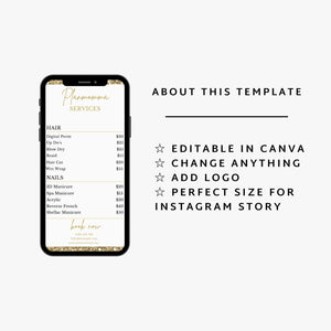 Gold Instagram Price List Story Template - Instagram Price List, DIY, Makeup Price List, Editable Instagram Post Price list, Canva Template