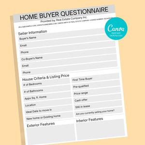 1 Buyer 1 Seller Questionnaire, Real Estate Home Buying Guide,Home Selling Guide,Buyer Seller Packet, Real Estate Marketing Templates