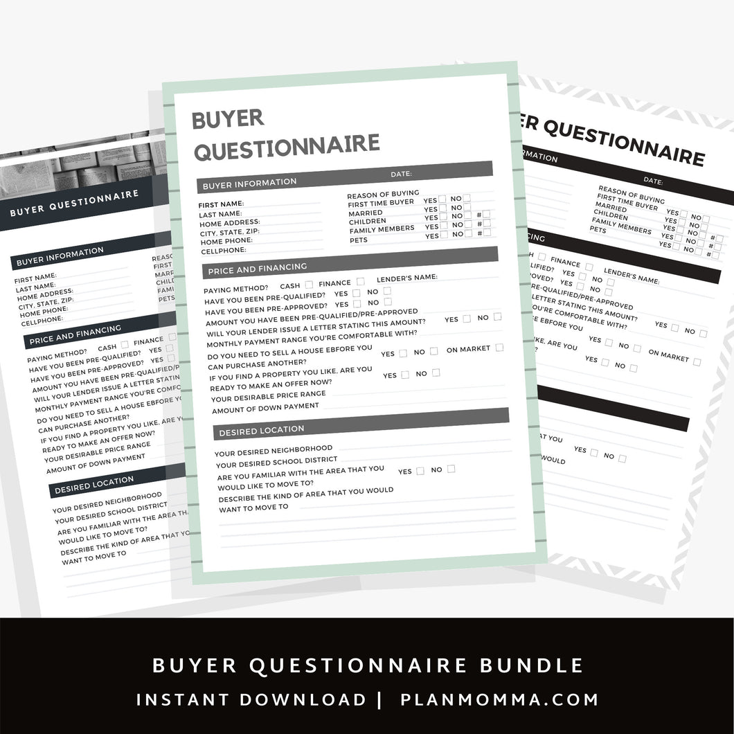 3 Home Buyer Questionnaire Real Estate Marketing Bundle, Canva Template, Realtor Tool, Canva, Realtor Flyer,Real Estate Form, PDF