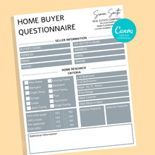 Load image into Gallery viewer, 2 Buyer and Seller Questionnaire, Real Estate Home Buying Guide, Home Selling Guide,Buyer Seller Packet, Real Estate Marketing Templates