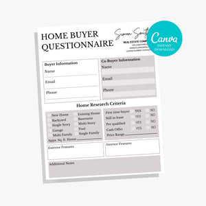 Real Estate Buyer Template - Home Buyer Guide, Real Estate Flyer, Realtor marketing tools, Canva, Buyer & Seller Questionnaire, PDF