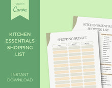 Load image into Gallery viewer, Kitchen Essentials Printable Shopping List - INSTANT DOWNLOAD, Kitchen Organizer, Kitchen Utensils Checklist, Budget Planner